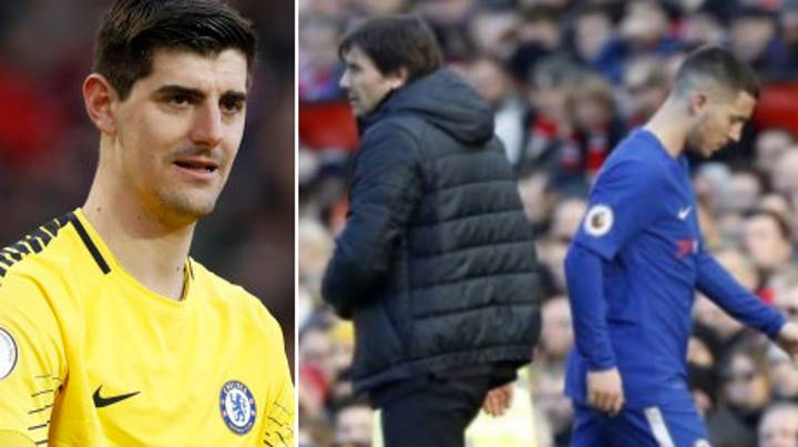 What Courtois Has Said About Conte Taking Off Hazard Is Very Interesting