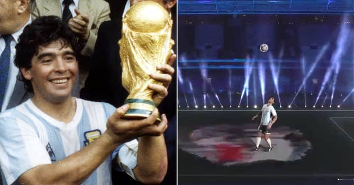 Crazy Diego Maradona Tribute Saw Hologram Doing Kick-Ups In Stadium Before Argentina Vs Chile