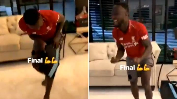 Naby Keita Celebrates Full Time Whistle By Tearing Off Recovery Patch