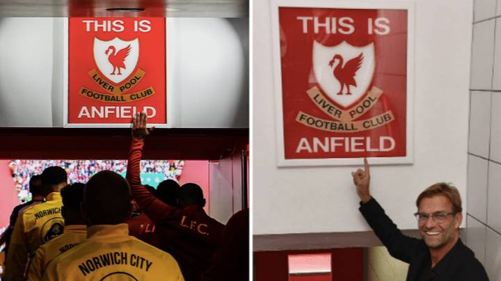 Jurgen Klopp Finally Allowed His Players To Touch The Famous 'This Is Anfield' Sign