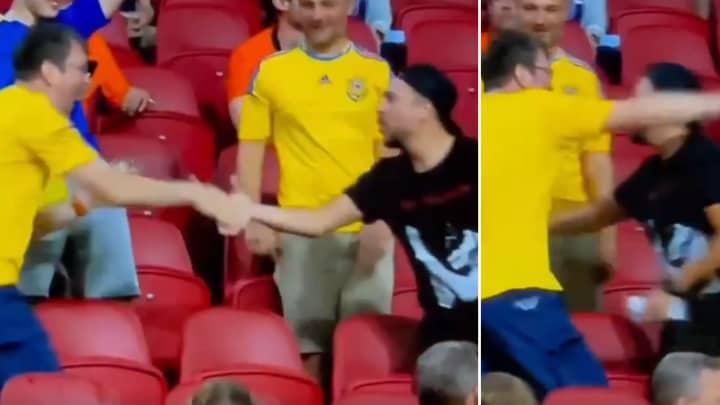 Wonderful Moment Sees Dutch Fan Congratulate Ukraine Supporters After Yarmolenko Screamer