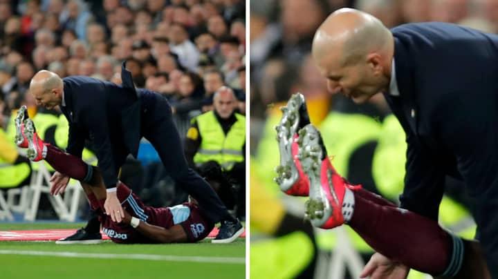 Zinedine Zidane Kicked In The Mouth By Celta Vigo Player In Freak Accident