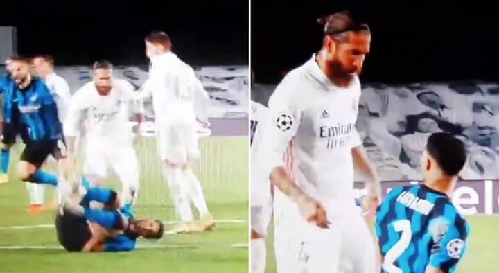 Real Madrid Defender Sergio Ramos Caught On Camera Tearing Into Former Teammate Achraf Hakimi