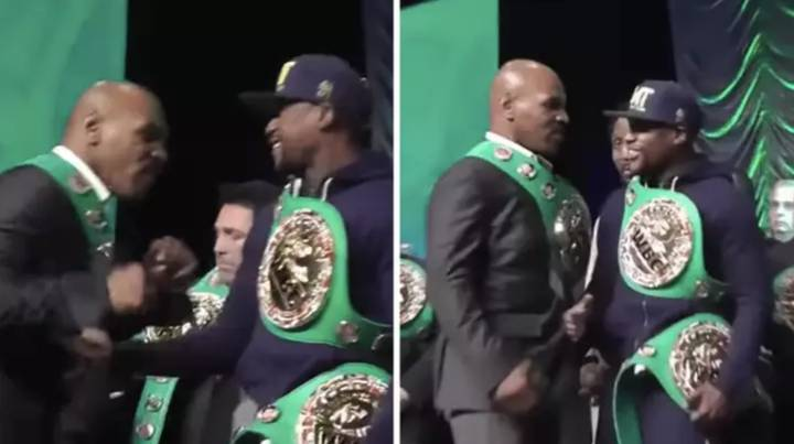 Mike Tyson Aggresively Swings At Floyd Mayweather And He Doesn't Even Flinch