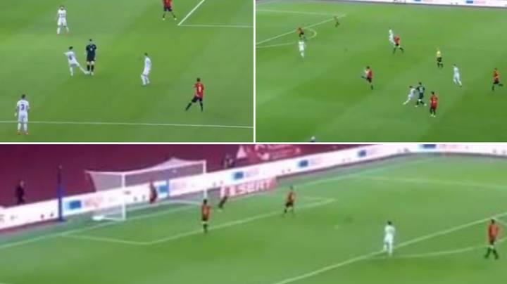 Besar Halimi Scores Ridiculous Goal For Kosovo Vs Spain