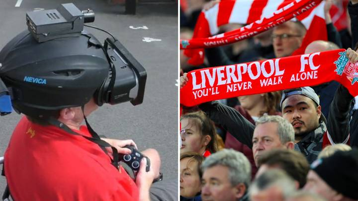 Custom-Built RooVision Helmet Allows Blind Liverpool Fan To Watch His Team Play Football