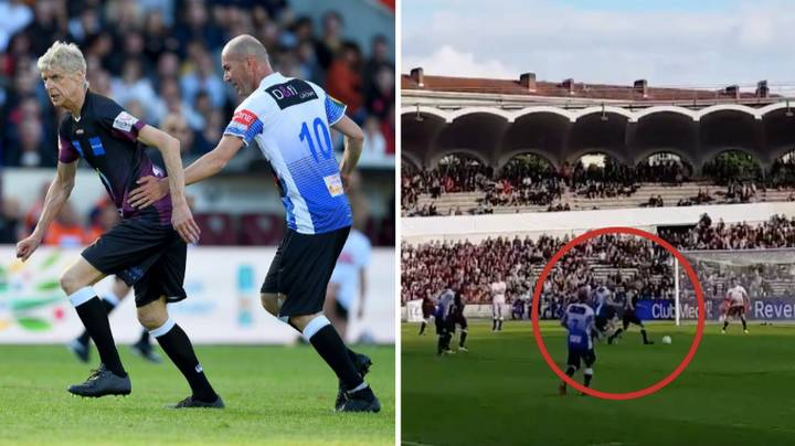 The Incredible Moment Arsene Wenger Tries To Dribble Past Zinedine Zidane In Charity Game