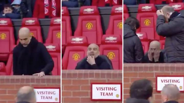 Footage Emerges Of Pep Guardiola Looking Fully Rattled And Stressed During Manchester Derby