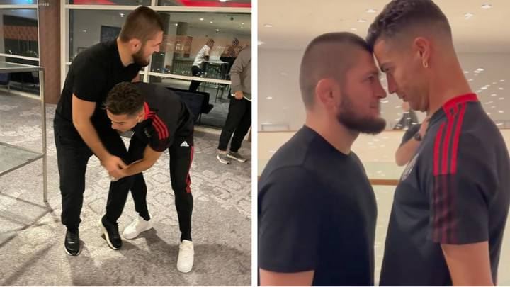 Cristiano Ronaldo Cheekily Tries To Wrestle Khabib Before Engaging In Intense Face-Off