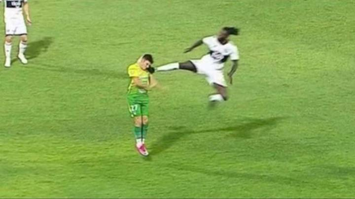 Emmanuel Adebayor Sent Off For A 'Flying Karate Kick' For New Team Olimpia In Paraguay