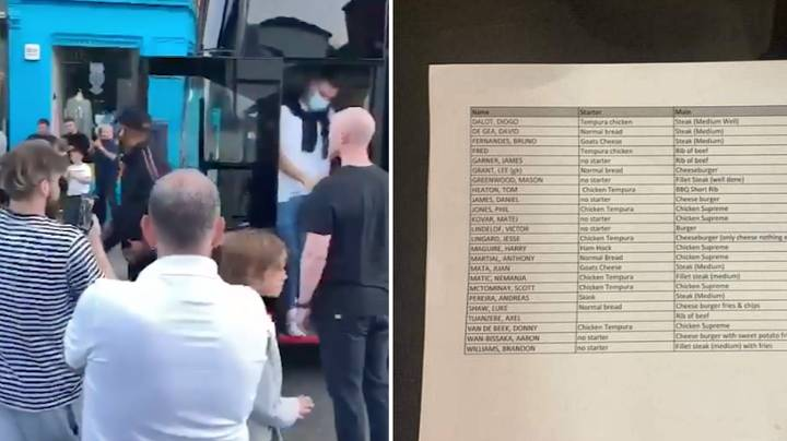 A Leaked Picture Of Every Manchester United Player's Order At Restaurant In Dundee Has Gone Viral
