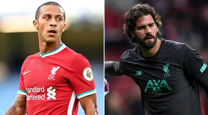 Liverpool Duo Thiago And Alisson Are Injury Doubts For Huge Arsenal Clash