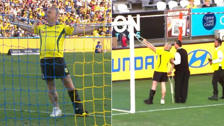 The Moment A Pitch Invader On Crutches And Moon Boot Manages To Get Past Security