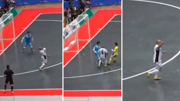 Roberto Carlos Absolutely Bosses Futsal Game In Japan, Scores Two Stunning Goals