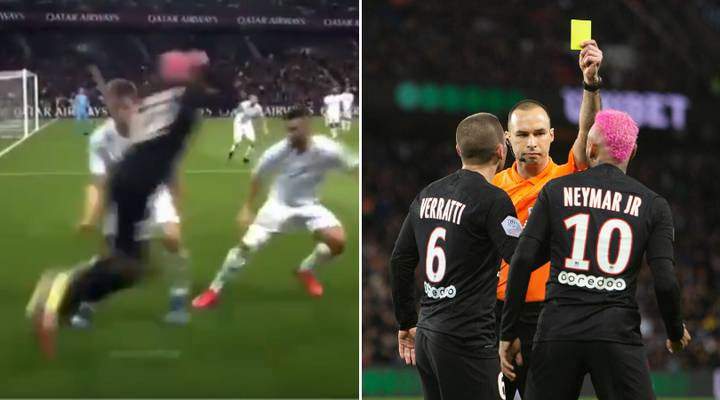 When Neymar Was Booked For Attempting A Rainbow Flick In PSG's 5-0 Demolition Of Montpellier