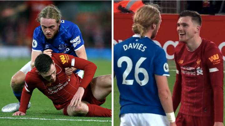 Andy Robertson Laughed In The Face Of Tom Davies During The Merseyside Derby
