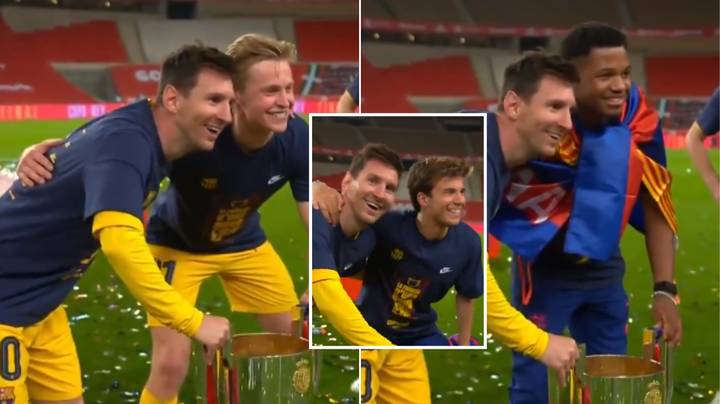 Every Barcelona Player Wanted A Picture With Lionel Messi And The Copa del Rey Trophy