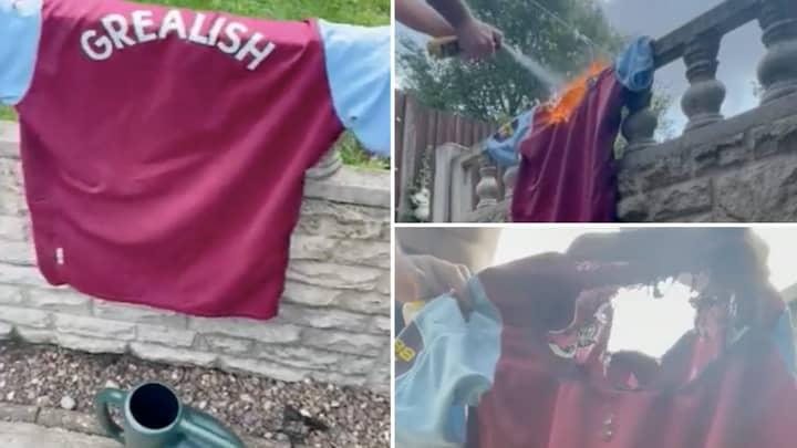 Aston Villa Fan Sets Jack Grealish Shirt Alight With Blowtorch After £100 Million Manchester City Move
