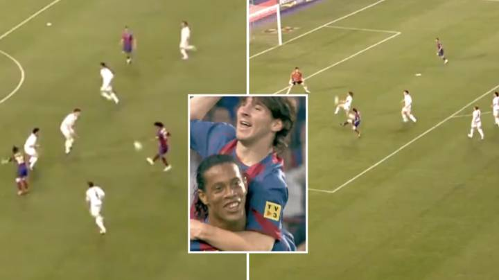 16 Years Ago Today, Ronaldinho Assisted Lionel Messi's First Goal For Barcelona