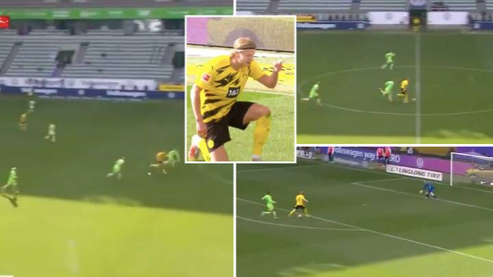 Borussia Dortmund's Erling Haaland Showed Superhuman Speed For Second Goal Against Wolfsburg