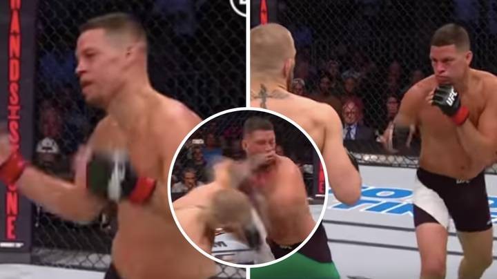 The Moment Nate Diaz's Emotions Change Dramatically After A Huge Left From Conor McGregor