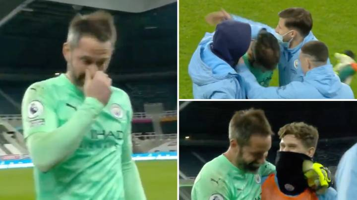 Scott Carson Gets Swamped By His Man City Teammates At Full-Time And It's Incredibly Wholesome