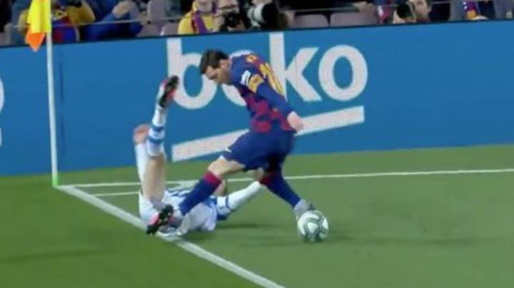 Lionel Messi Somehow Avoids Red Card For Stamp On Diego Llorente