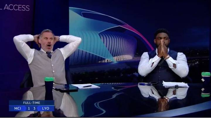 Jamie Carragher And Micah Richards' Reaction To Raheem Sterling Miss Is Absolutely Priceless