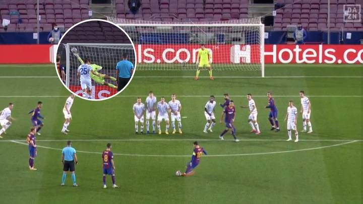 18-Year-Old Dynamo Kyiv Goalkeeper Made Stunning Save From Lionel Messi Free-Kick On Champions League Debut
