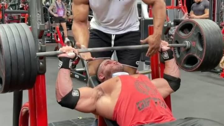 Eye-Watering Moment Bodybuilder's Pec Rips Away From Bone