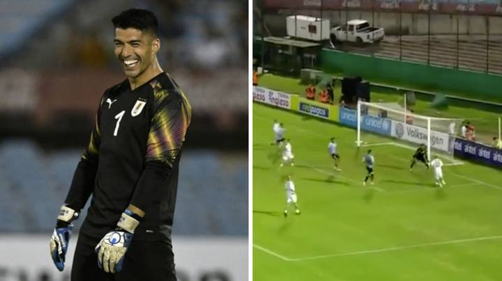 Luis Suarez Played As A Goalkeeper For Diego Forlan's Testimonial And He's Actually Quite Good