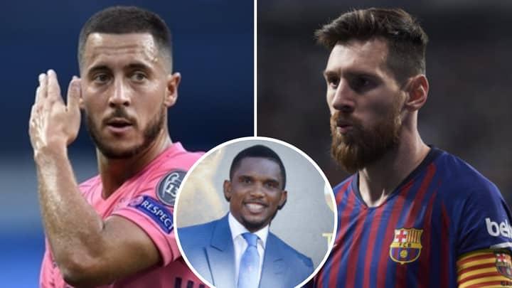 Eden Hazard Is 'On The Same Level' As Lionel Messi, Says Samuel Eto'o