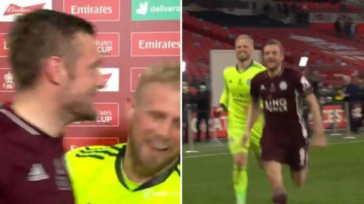 Kasper Schmeichel Drags Jamie Vardy Away From Interview To Celebrate FA Cup Win
