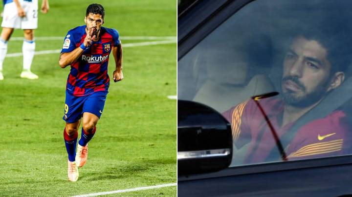 Luis Suarez In Tears After Leaving Barcelona's Training Ground For The Last Time