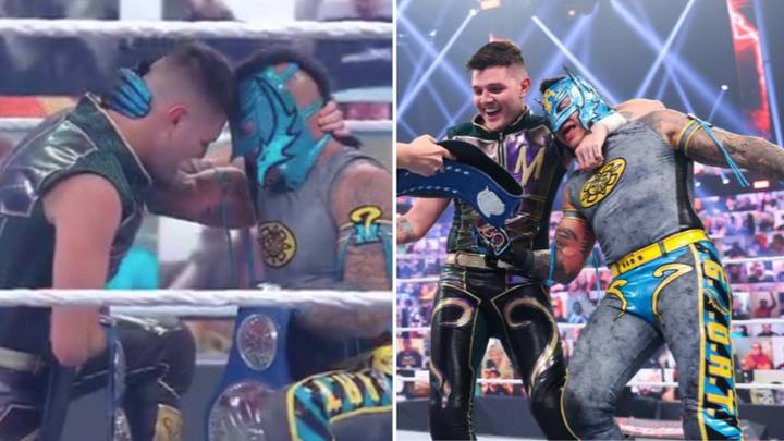 Rey Mysterio Wins The WWE SmackDown Tag Team Championship With Son Dominick