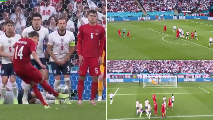 Mikkel Damsgaard Scores The First Free-Kick Of Euro 2020 And It Was An Absolute Banger