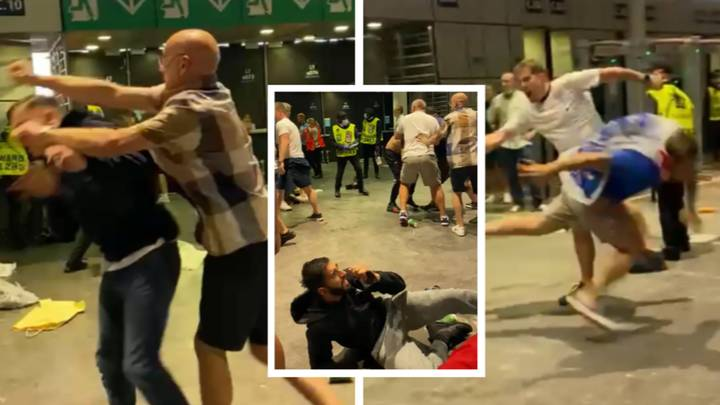 New Footage Shows England Fans Fighting With Ticketless Gate Crashers