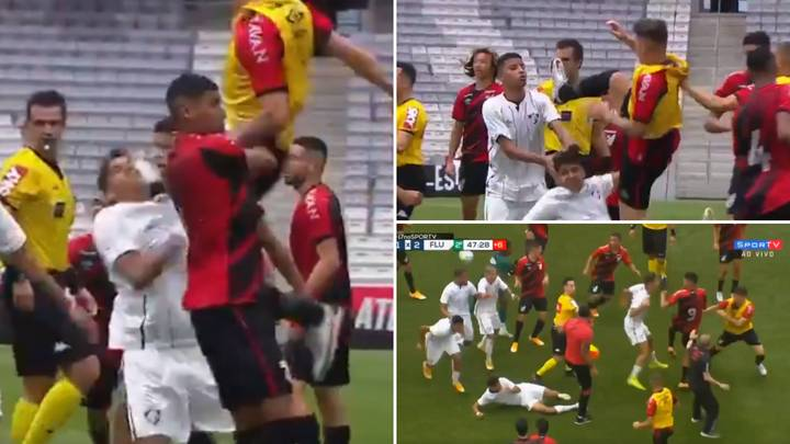 Brazilian Youth Player Kung Fu Kicks Opponent In The Face During Mass Brawl
