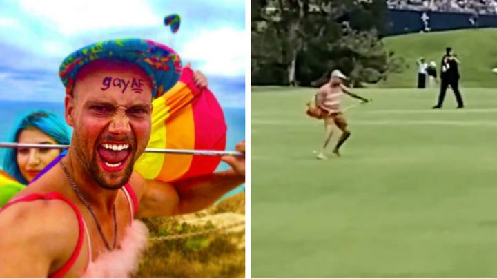 Shirtless Streaker Hits Golf Balls At US Open Before Getting Tackled By Security