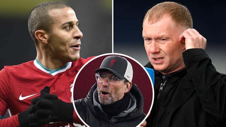 Man United Legend Paul Scholes Pinpoints Exact Reason Why Thiago Alcantara Will Flop At Liverpool