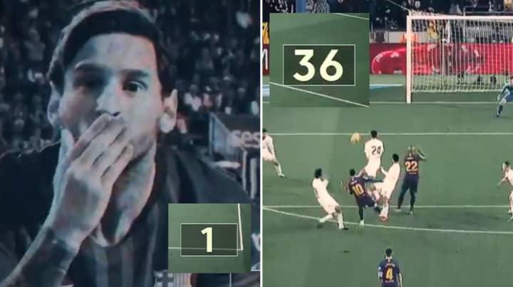 All Of Lionel Messi's 36 La Liga Goals In A One-Minute Clip