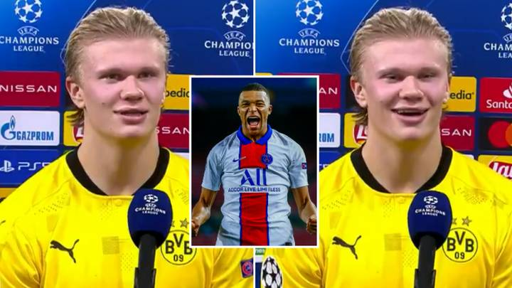 Erling Haaland Ignites Kylian Mbappe Rivalry In Post-Match Interview After Champions League Brace