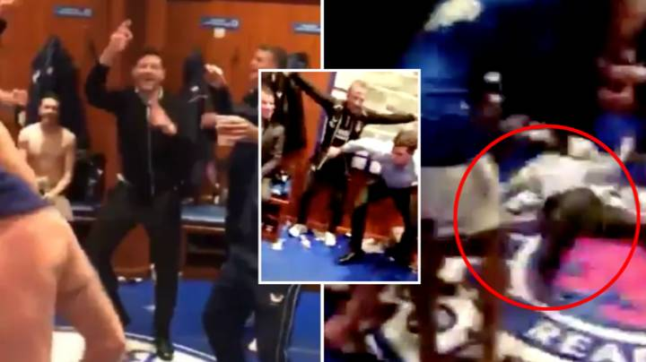 Steven Gerrard Filmed Doing Belly Slide In Rangers Dressing Room And It's Absolutely Incredible