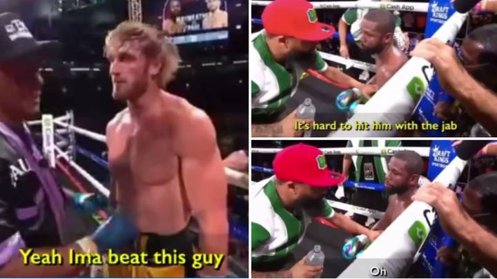 The Moment Floyd Mayweather Tells Coach That His Tactic Against Logan Paul Isn't Working