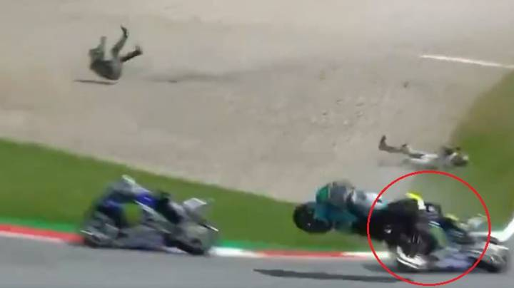 Valentino Rossi Narrowly Avoids Being Hit By Stray Bike In High-Speed MotoGP Crash