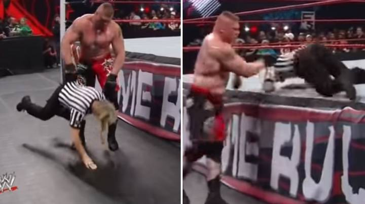 When Brock Lesnar Picked Up The Referee With Just One Hand