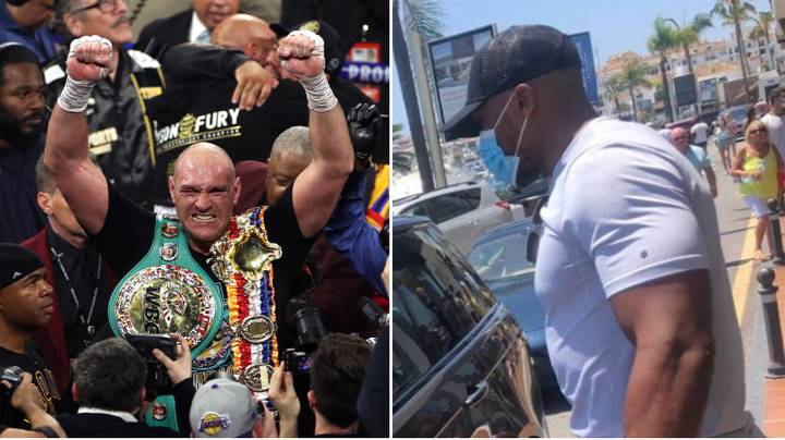 The First Staredown Between Tyson Fury And Anthony Joshua Happened On The Street