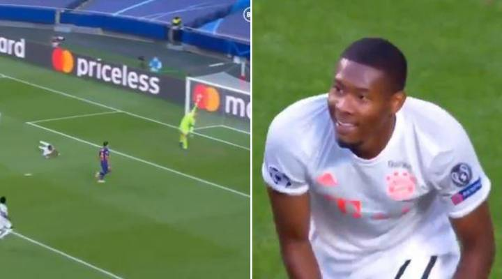 David Alaba Caught Laughing At Own Goal In Bayern Munich-Barcelona Game