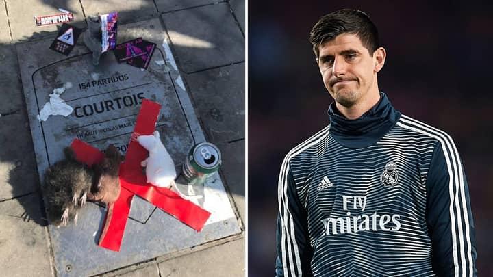 Thibaut Courtois' Commemorative Plaque Vandalised Outside Of Atlético Madrid's Stadium, He Responds