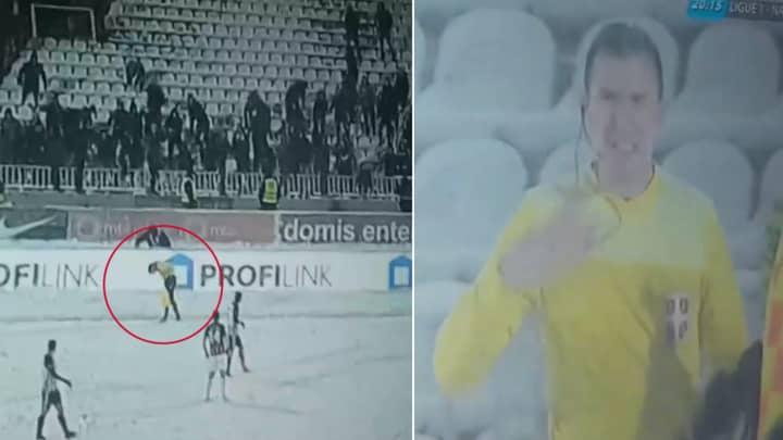 Hundreds Of Partizan Belgrade Fans Throw Snowballs At Assistant Referee